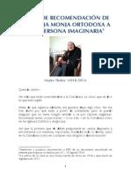 Carta de Recomendación de Un Vieja Monja Ortodoxa a Una Persona Imaginaria [Madre Thekla (1918-2011)]