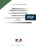 Eferentiel de Formation La Prevention Des Risques Electriques Juin 2013