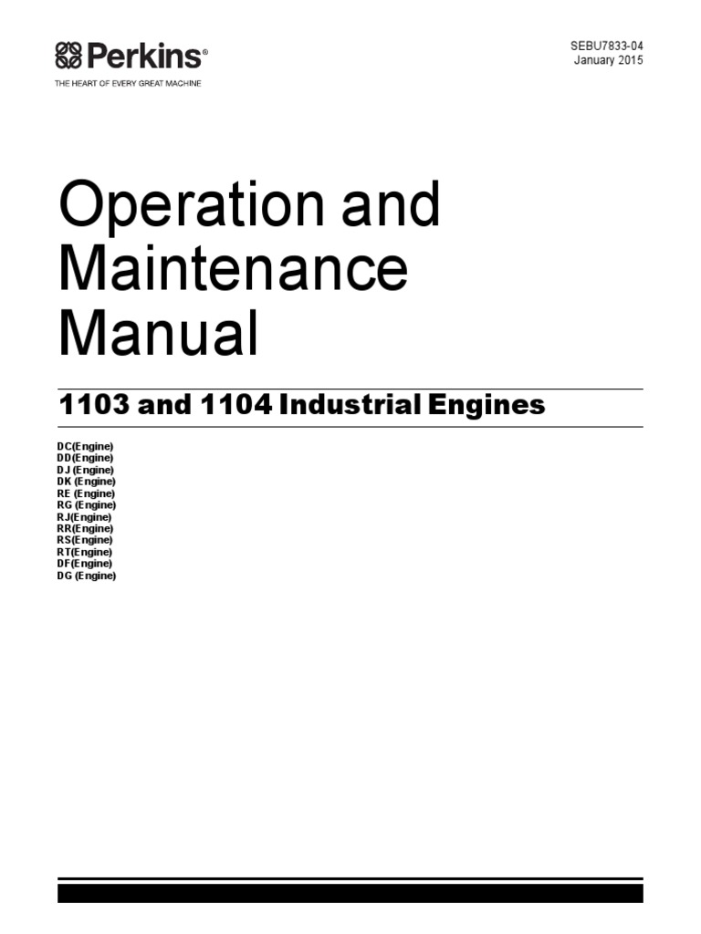 Operation and Mantenance Manual Perkins 1103 and 1104c Engines Systems |  Turbocharger | Throttle