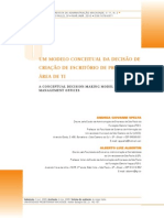 Um ModeloUm modelo conceitual da decisão de criação de escritório de projetos na área de TI