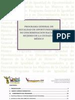 Programa General de Igualdad de Oportunidades  y no Discriminación hacia las Mujeres del DF