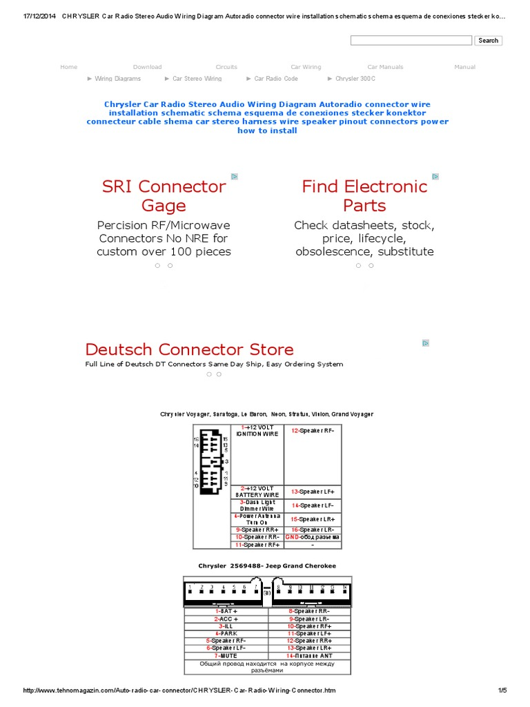 chrysler car radio stereo audio wiring diagram autoradio connector rh es scribd com Chrysler Infinity Amp Wiring Diagram 2006 Chrysler Wiring Diagrams