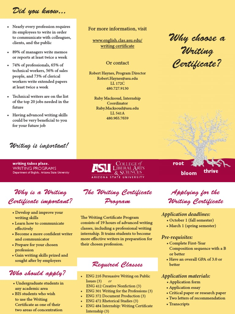 Brochure On Asu Writing Certificate Program Tappendorf Arizona