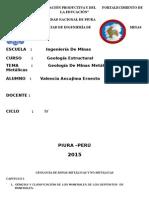 Geología de Minas Metálicas Y No Metálicas- VALENCIA