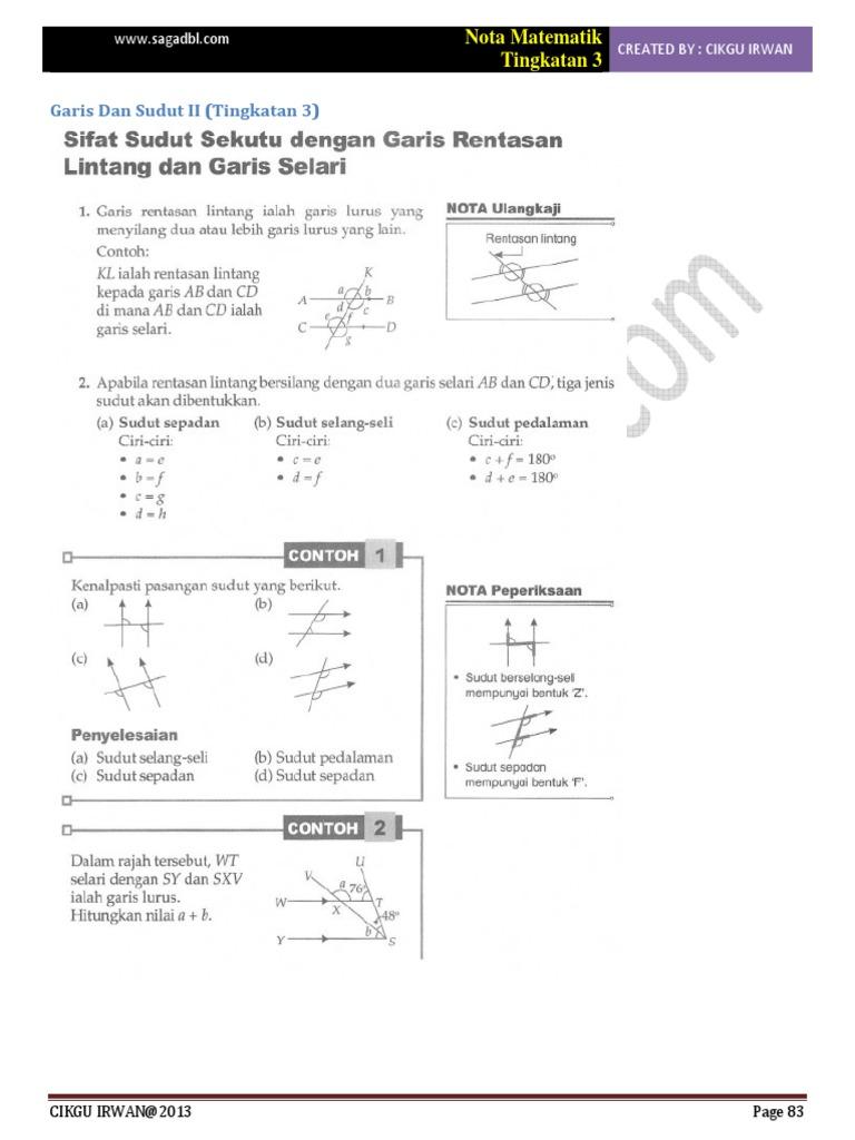 Bab 1 Matematik Tingkatan 3 Sudut Dan Garis Ii