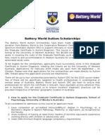 2016 Battery World Autism Scholarships - Information Sheet