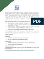 Graduate Certificate Autism Diagnosis - 2016 Application Information