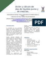 Medición y Cálculo de Densidades de Líquidos Puros y de Mezclas.