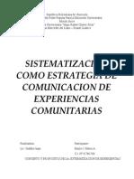 Sistematizacion Como Estrategia de Comunicacion de Experiencias Comunitarias1