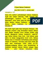 Sejarah Singkat Ejaan Bahasa Indonesia