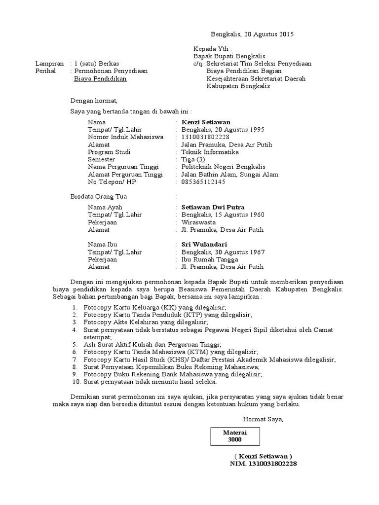 Contoh Surat Permohonan Beasiswa Pendidikan