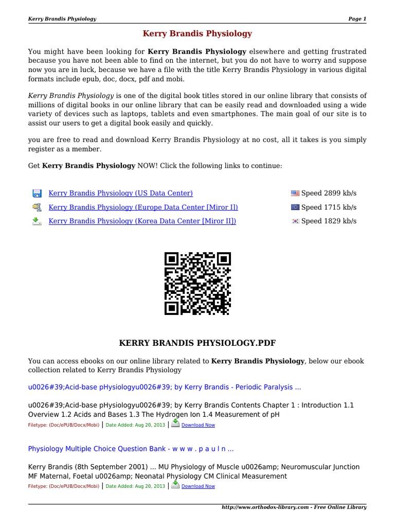Kerry Brandis Physiology MRxbw   E Books   Computing And