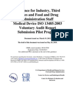 Guidance Medical Device ISO 13485_2003 Voluntary Audit Report Submission Pilot Program