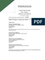 Jugement de la cour d'appel du tribunal de grande instance de Paris (13 octobre 2015)