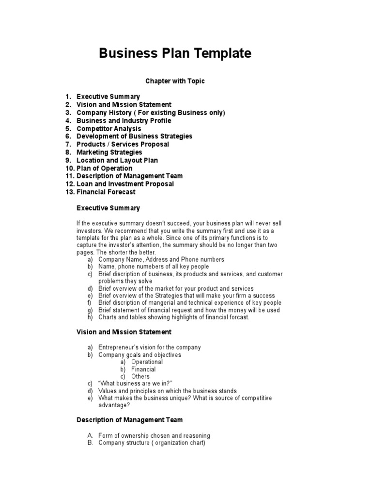 Business Plan Template Strategic Management Competition