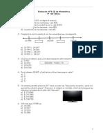 Evaluación N°3 (I) Matemática para 4° Año Básico