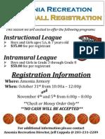 Ansonia Recreation Basketball Flier 2015