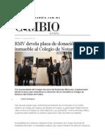 21-10-2015 Cambio de Puebla - RMV Devela Placa de Donación de Un Inmueble Al Colegio de Notarios