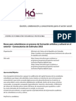 Becas Para Colombianos en Proceso de Formación Artística y Cultural en El Exterior - Convocatorias de Estímulos 2015 - Ofertas de Formación y Desarrollo Profesional - Nodo Ka