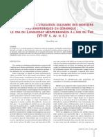 Réflexions Sur l'Utilisation Culinaire Des Mortiers Protohistoriques en Céramique. Le Cas Du Languedoc Méditerranéen à L'Âge Du Fer (VIe-IIIe S. Av. n. è.)