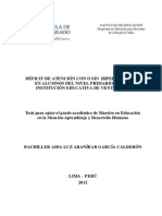 2012 Araníbar Déficit de Atención Con o Sin Hiperactividad en Alumnos Del Primer Nivel Primario de Una Institución Educativa de Ventanill