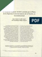 El Acuerdo General 10/2013 emitido por el Pleno de la Suprema Corte de Justicia de la Nación, es inconstitucional