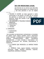 Lesiones en Medicina Legal