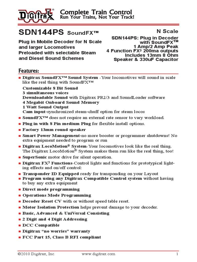 Digitrax SDN144PS Decoder Manual | Loudspeaker | Steam Locomotive