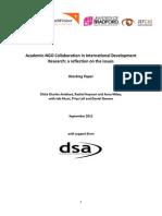 Academic NGO Collaboration in International Development September 2012