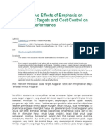 The Interactive Effects of Emphasis on Tight Budget Targets and Cost Control on Budgetary Performance