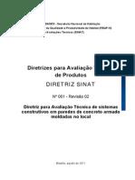 Diretriz para Avaliação Técnica de sistemas construtivos em paredes de concreto armado