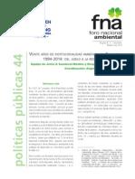 20 años de institucionalidad ambiental en Colombia 1994-2014 del júbilo a la resgnación Foro nacional ambiental 2015.pdf