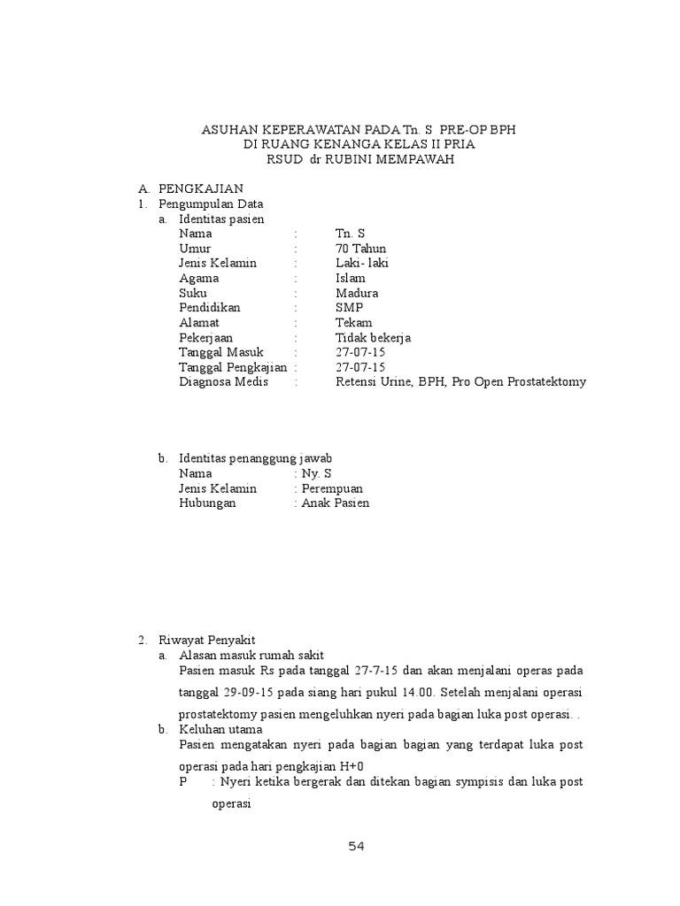 Askep Post Operasi Bph Pengkajian Analisa Data