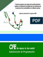 Cálculo de Factores de Ajuste Agosto 2008