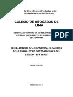 Análisis de Los Principales Cambios de La Nueva Ley de Contrataciones Del Estado - Ley 30225
