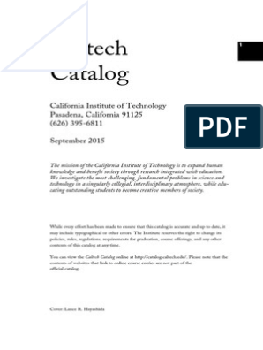 Catalog 15 16 | California Institute Of Technology