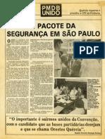 1986 - Jornal Pmdb Quercia e Segurança Publica Em Sp