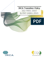 Irca Transition Policy 9001 14001 2015
