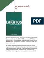 Lakatos y Los Programas de Investigación