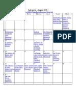 Calendario Litúrgico 2016