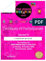 Pink Ribbon Ride & Run Certificate