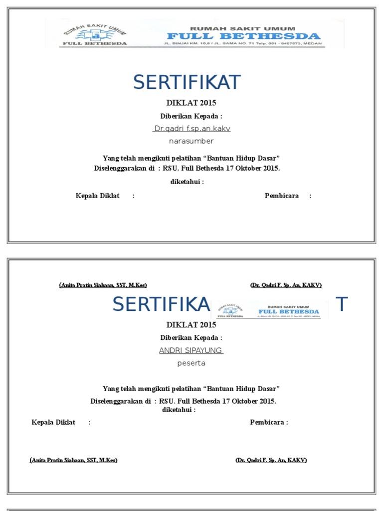 Sertifikat Pelatihan Bhd
