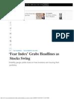 'Fear Index' Grabs Headlines as Stocks Swing - WSJ