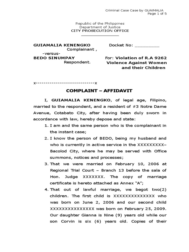 criminal complaint sample Sample Complaint Affidavit for Violation of RA 9262 | Marriage ...