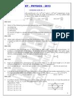 KCET Sample Paper-8 (Kcet 2013 Physics Paper)