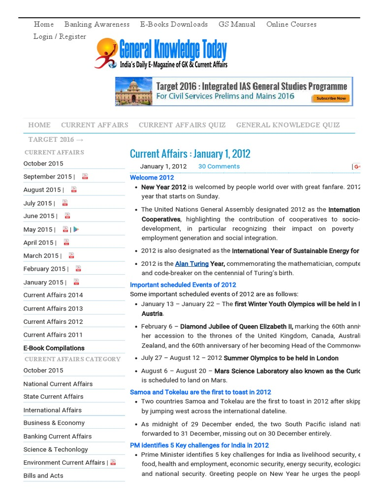 Current Affairs _ January 1, 2012 - General Knowledge Today
