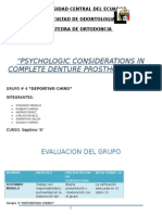 """PSYCHOLOGIC CONSIDERATIONS IN COMPLETE DENTURE PROSTHODONTICS"""