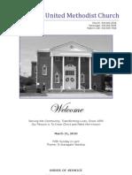 Spiro First United Methodist Church Worship Bulletin - March 21, 2010