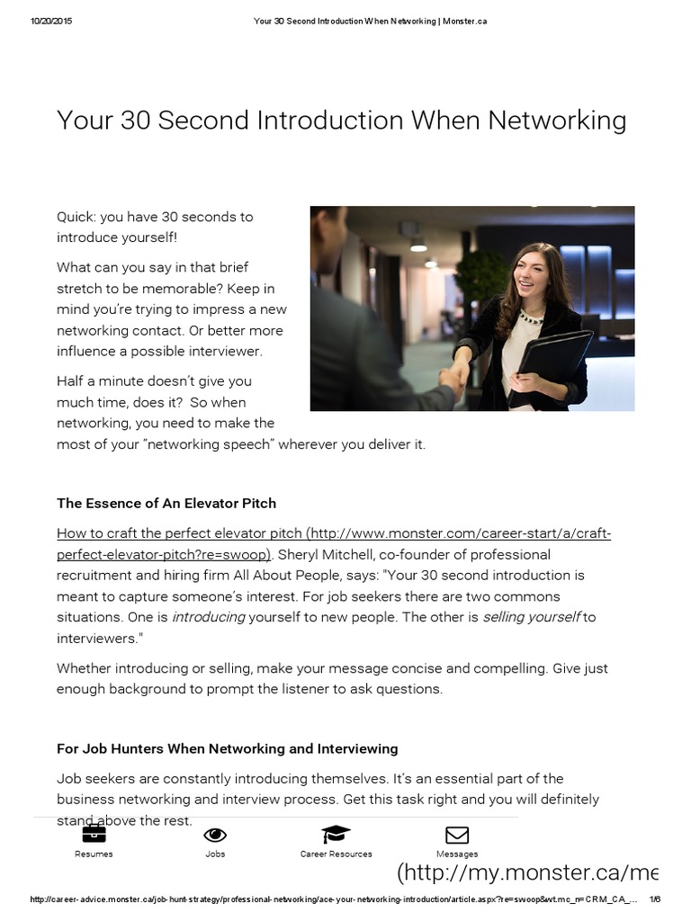 your 30 second introduction when networking