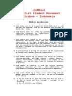 Member guidelines Socialist Student Movement (GeMSos) Indonesia
